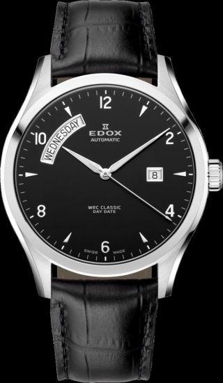 Edox Wrc Classic Day - Date Automatik Herrenuhr Mit Glasboden 83012 3 Nin Bild