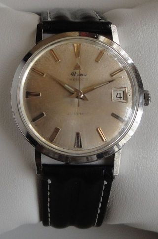 Vintage Armbanduhr Alpina Automatic In Edelstahl - Cal.  Alpina 572c - Mit Datum Bild