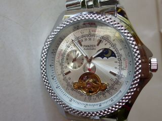 Xxl Panzer Automatik Uhr Armbanduhr Chronograph Edelstahl Tag/nacht Anzeige Bild