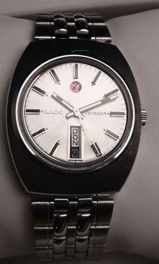 Vintage Armbanduhr Automatic Rado Voyager In Edelstahl – Day Date Bild