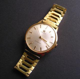 Vintage Tissot Automatic Herrenarmbanduhr Uhr Rowi Americ Armband Hartvergoldet Bild