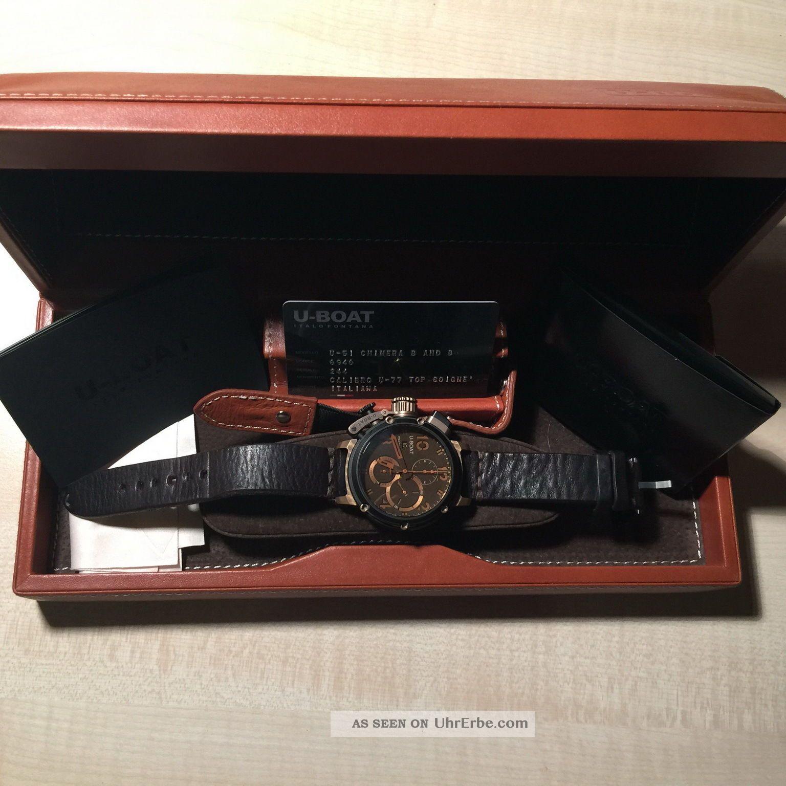 Neuwertige U Boat Chimera U - 51 Limitierter (300) Bronze Chronograph Rg 09/2013 Armbanduhren Bild