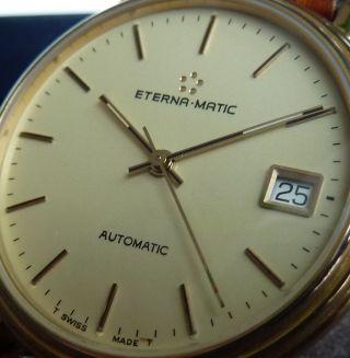 Eterna - Matic Automatic Herren Armbanduhr,  Glasboden,  Neuwertig,  35mm,  Box Bild