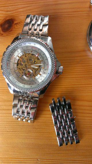 Herrenuhr Jaragar Armbanduhr Automatic Edelstahl Skelett Edelstahlarmband Bild