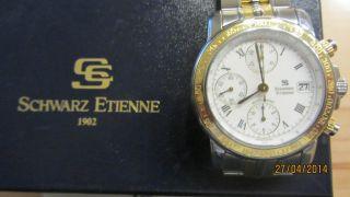 Schwarz Etienne Automatik Swiss Chronograph Stahl / Gold Und Papiere Bild