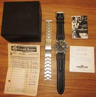 Fortis Chronograph Automatik 40mm Glasboden Stahlarmband Papiere Herrenuhr Kein Bild