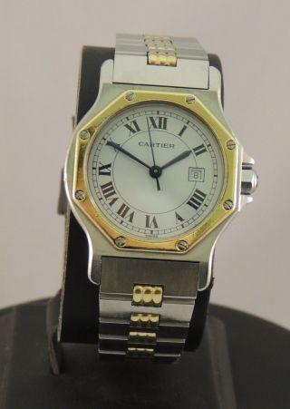 Herrenuhr Cartier Santos Ronde Stahl Gold Automatik Bild