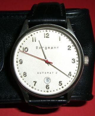 Bergmann Automat 2 Armbanduhr Nr.  0360 Leder Armband Schwarz Analog Bild