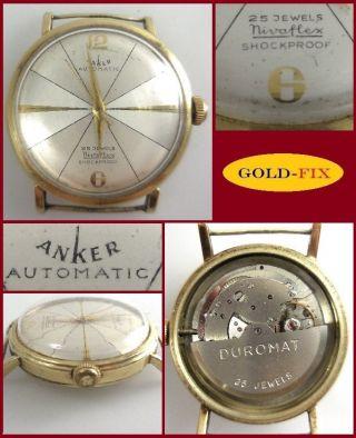 Vintage Armbanduhr Anker Automatic 25 Jewels Duromat,  585er Gelbgold Bild
