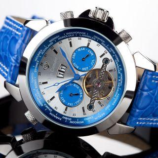 Yves Camani Worldtimer Navigator Herrenuhr Automatik Edelstahl Blau B - Ware Bild