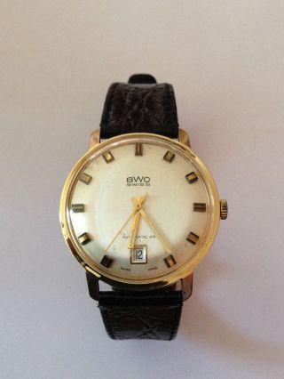 Vintage Herrenarmband Uhr Bwc Automatik 14k / 585 Gold Bild