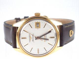 Longines Admiral Fünf Sterne 18 Karat Gold Herren Armbanduhr Bild