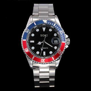 Soki Rot Blau Mechanische Herren Analog Armband Automatik Edelstahl Uhr F84 Bild