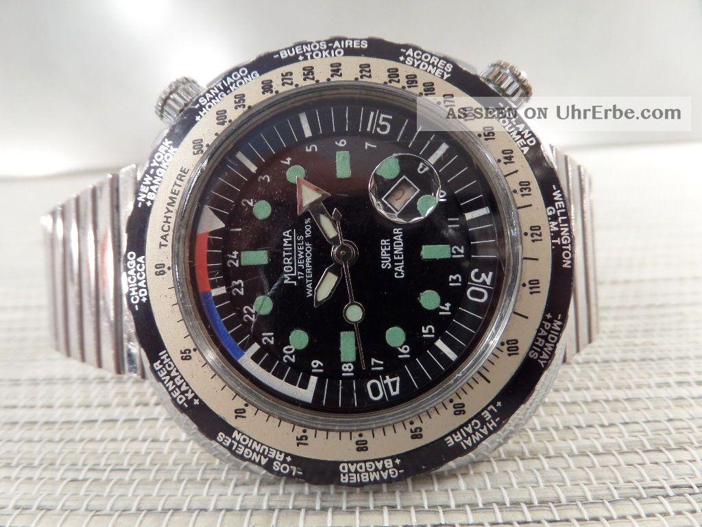 Mortima Calender Automatic Alte Armbanduhr Old Mens Wrist Watch Vintage Armbanduhren Bild