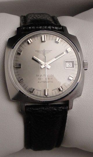 Vintage Armbanduhr Automatic Marvin In Edelstahl Mit Datum Bild