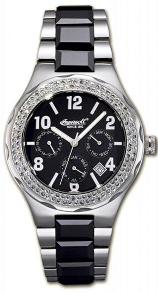 Ingersoll Monroe In 7201 Bk Damenuhr Metallarmband Mit 130 Swarowski - Steinen Bild