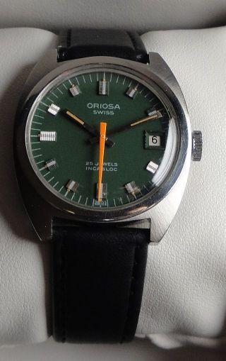 Armbanduhr Automatic Oriosa In Edelstahl M.  Datumsanzeige U.  Grünem Zifferblatt Bild
