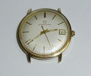 Herren Armbanduhr Uhr Eterna Matic Automatic Datum 585/14 Karat Gold Bild