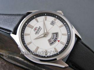 Orient Uhr Classic Automatik Herrenuhr Edelstahl Mit Tag&datum Leder Ffn02005wh Bild