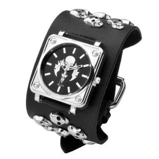 Damen Herren Uhr Totenkopf Schädel Armbanduhr Quarzuhr Gothic Nieten Leder Punk Bild