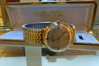 Provita Automatic 25 Rubis Incabloc 750 Gold Uhr Vintage Bild