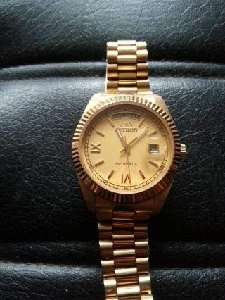 Schweizer Automatik Klassisch - Elegante 585er Hartvergolde Armbanduhr Von Astron Bild