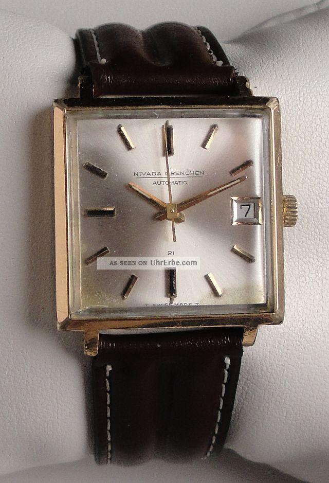 Vintage Armbanduhr Automatic Nivada Grenchen Compensamatic In Edelstahl M.  Datum Armbanduhren Bild