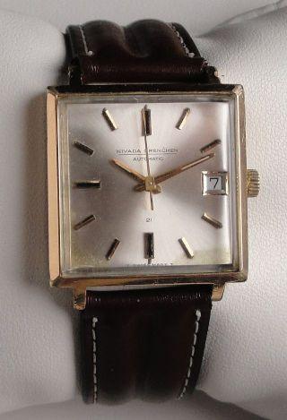 Vintage Armbanduhr Automatic Nivada Grenchen Compensamatic In Edelstahl M.  Datum Bild