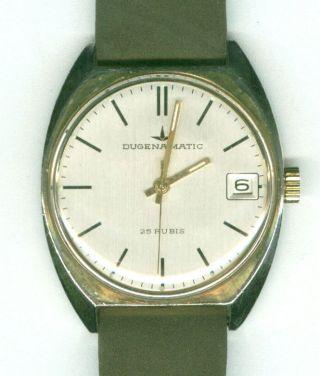 Herrenuhr Dugena Matic Automatic Doublegold GehÄuse Lederarmbamd Uhr Bild