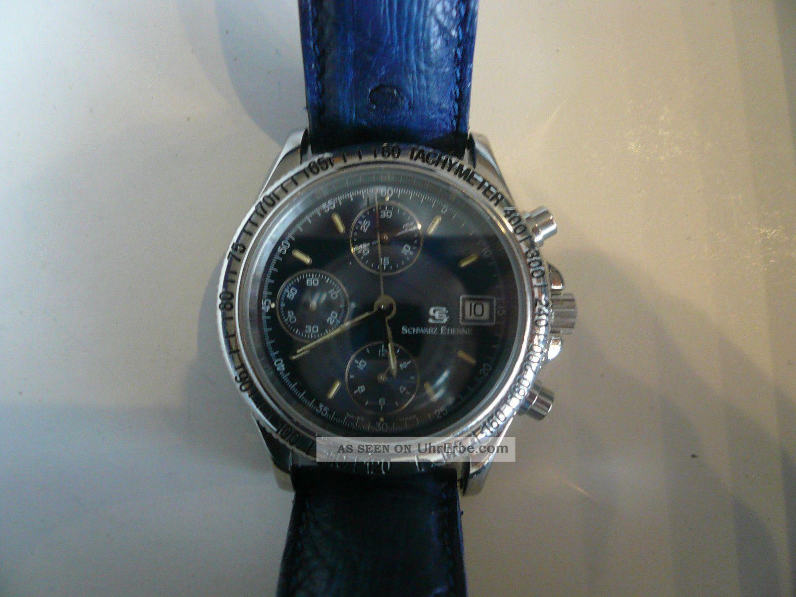 Hau Chronograph V.  Schwarz Etienne M.  Valjoux - Werk 7750 Armbanduhren Bild