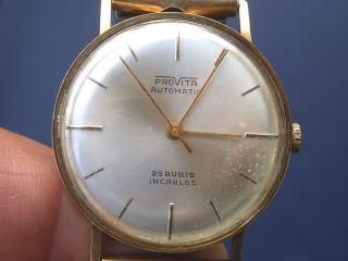Seltene 585er Gold Provita Automatic Herren Armbanduhr Gut Erhalten Läuft Gut. Bild