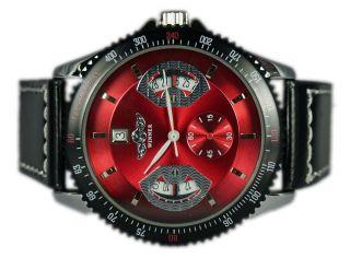 Herren Uhr Armbanduhr Aus Edelstahl Von Winner,  Mechanisch,  Rot,  Automatik Bild