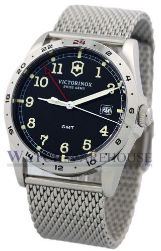 Herren Armbanduhr Victorinox Swissarmy Infantry Gmt Dunkelgrau Stahlgewebe241649 Bild