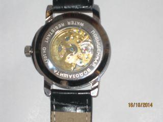 Gefragt Herrenuhr Automatik Mechanische Skelett Uhr Armbanduhr Leder Business Bild