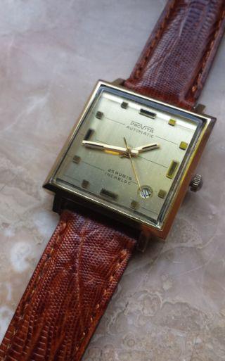 Provita Automatic Armbanduhr Compressor 25 Rubis Lederband Vintage Bild