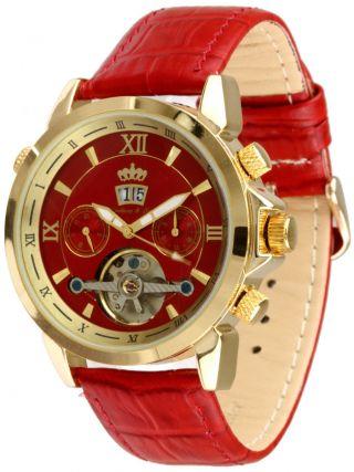 Lindberg & Sons Uhr - Piraeus Rot - Lederuhrarmband,  Automatikuhr, Bild