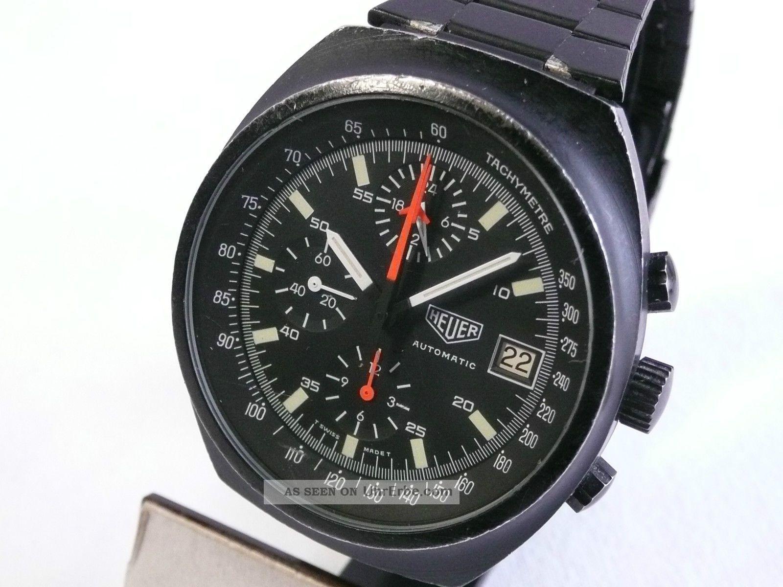 Top Rarität: Heuer Chrono 510 501,  Gehäuse U.  Orig.  Band Brüniert,  Um 1980 Armbanduhren Bild
