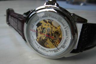 Edle Automatik Skelett Herrenuhr,  Glasboden Gangreserve Rot - Braun - Top Uhr Bild