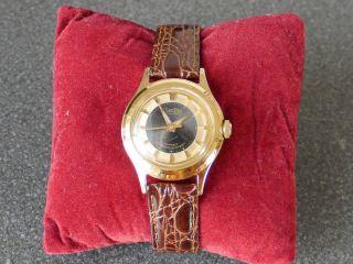 Vintage Zentra Schwebering Automatik Herren Damen Uhr Lederband Bild