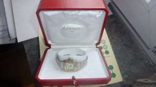 Cartier Santos Stahl/18k Gold Automatic Damenuhr Bild