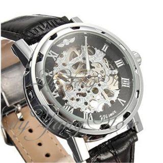 Herrenuhr Automatik Mechanische Uhr Leder Armband Skelett Uhren Armbanduhr Trend Bild