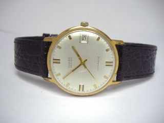 Anker Automatic Goldene Vintage Herrenuhr Mit Datum & Neuem Kroko Lederband Bild