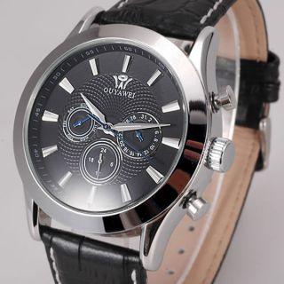 Schwarz Leder Armband Herren Mechanisch Automatik Analog Datum Tag Arbeit Uhr Bild