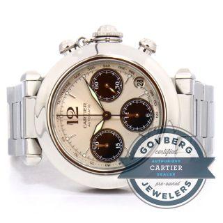 Cartier Pasha Chronograph - Automatik Stahl Silber /zifferblatt Armbanduhr Bild