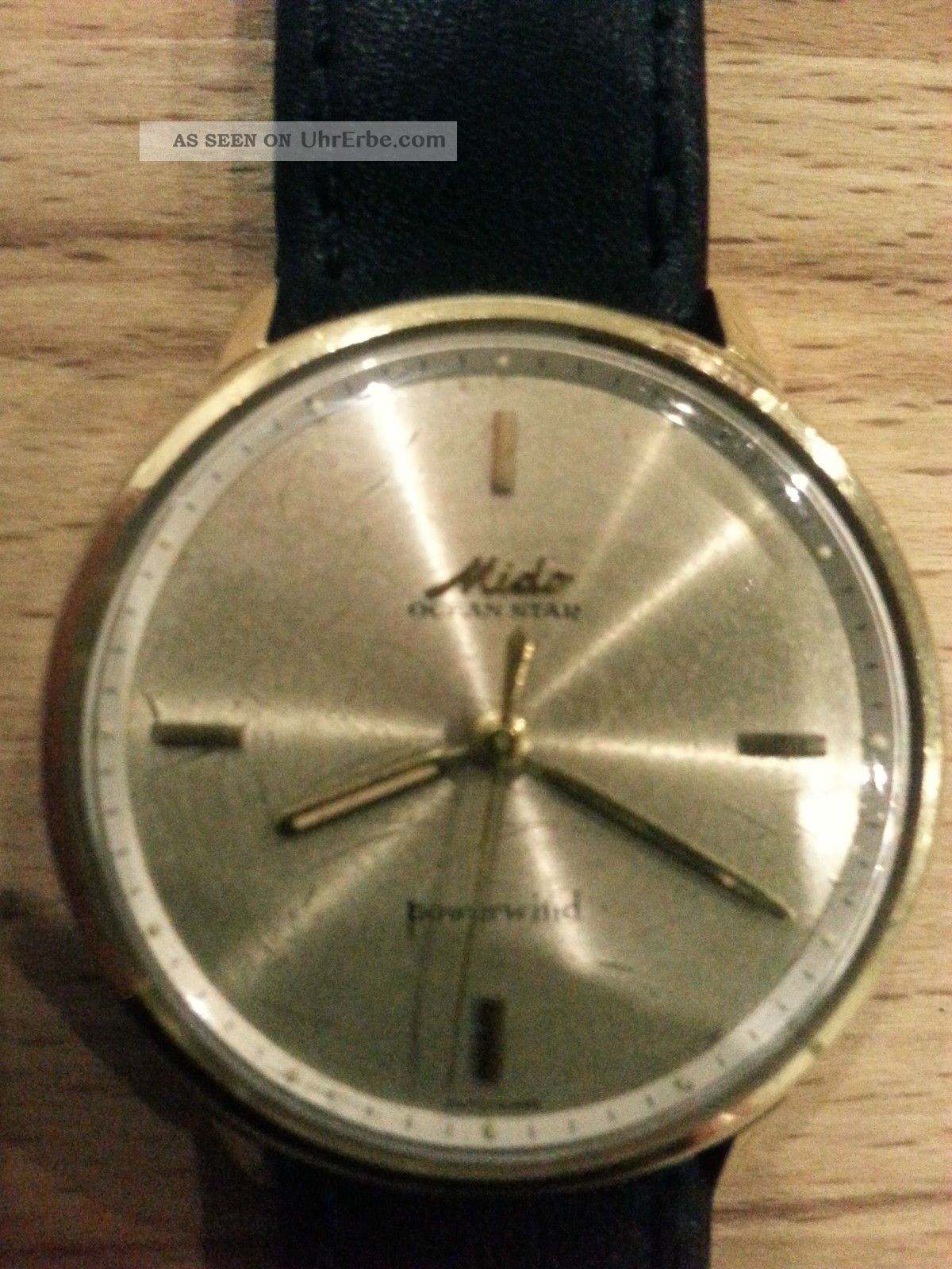 585er Gold Mido Ocean Star Powerwind Herren Lederarmbanduhr Armbanduhren Bild