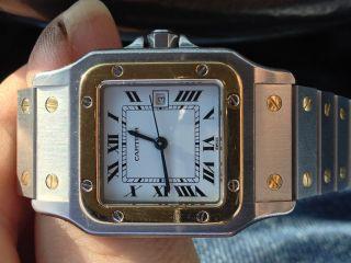 Cartier Santos Automatic Stahl/gold 18kt.  Herrenuhr Incl.  Box Und Papiere Bild