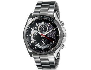 Diniho 8013g Herren Armbanduhr Handaufzug Wrist Watch Edelstahl Armband Schwarz Bild