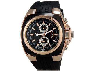 V0048 Herren Armbanduhr Wrist Watch Handaufzug Mit Kalender Gummi Band Golden Bild