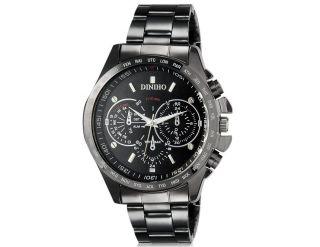 Diniho 8015g Armbanduhr Handaufzug Wrist Watch Edelstahl Wasserdicht Schwarz Bild