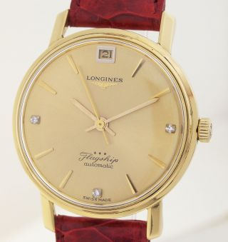 Longines Flagship Automatic - 18ct Gold - Herrenuhr Mit Diamantzifferblatt1960er Bild